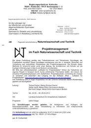 Projektmanagement im Fach Naturwissenschaft und Technik