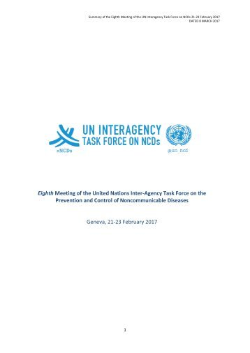 Prevention and Control of Noncommunicable Diseases Geneva 21-23 February 2017