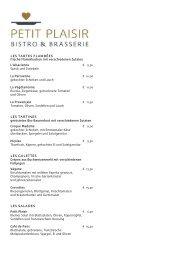 Sonnenhof - Petit Plaisir Brasserie - Speisekarte Mittag