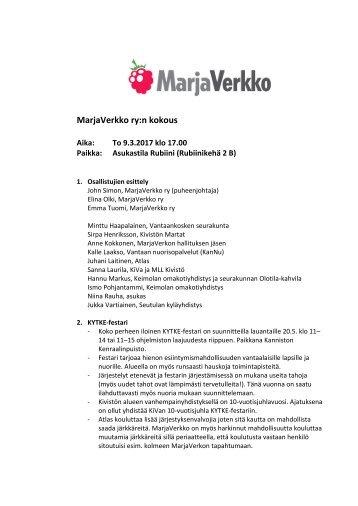 MarjaVerkko ry:n kokous