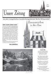 aus der evangelischen Auenkirchengemeinde Berlin-Wilmersdorf