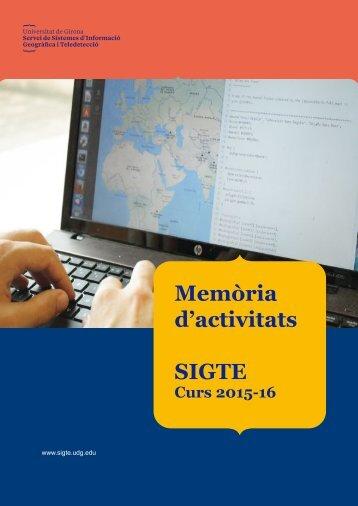 Memòria d'activitats SIGTE