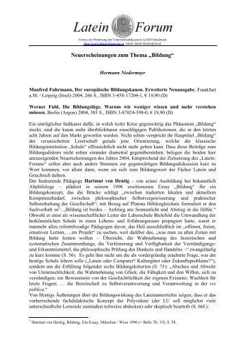 """Neuerscheinungen zum Thema """"Bildung"""" - Latein Forum"""