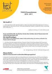 TUSCH Pressestimmen 2010 - 2011 Wo knallt´s? Die ...
