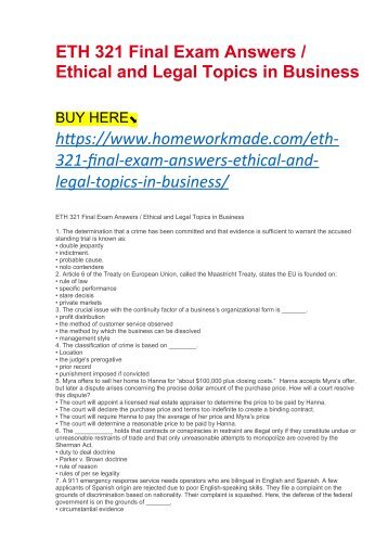 business law and ethics final exam Ethics final exam review description business law ethics review total cards 11 subject business level undergraduate 4 created 12/13/2012 click here to study/print these flashcards create your own flash cards sign up here additional business flashcards.