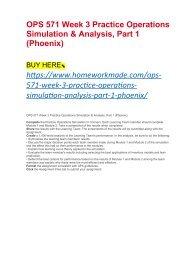 OPS 571 Week 3 Practice Operations Simulation & Analysis, Part 1 (Phoenix)