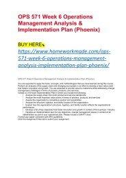 OPS 571 Week 6 Operations Management Analysis & Implementation Plan (Phoenix)
