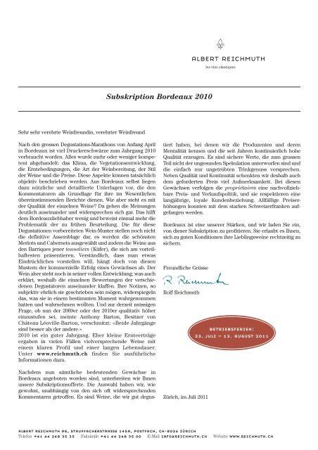 Subskription Bordeaux 2010