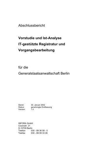 Abschlussbericht Vorstudie und Ist-Analyse IT-gestützte Registratur ...