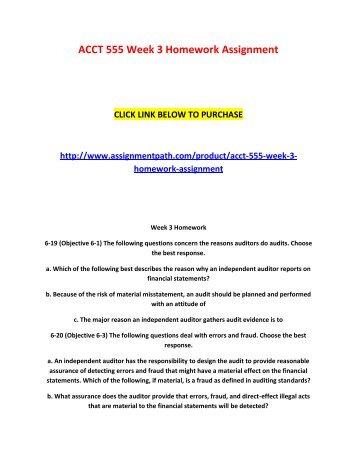ACCT 555 Week 3 Homework Assignment