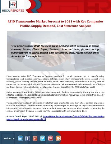 RFID Transponder Market Forecast to 2021 with Key Companies Profile, Supply, Demand, Cost Structure Analysis