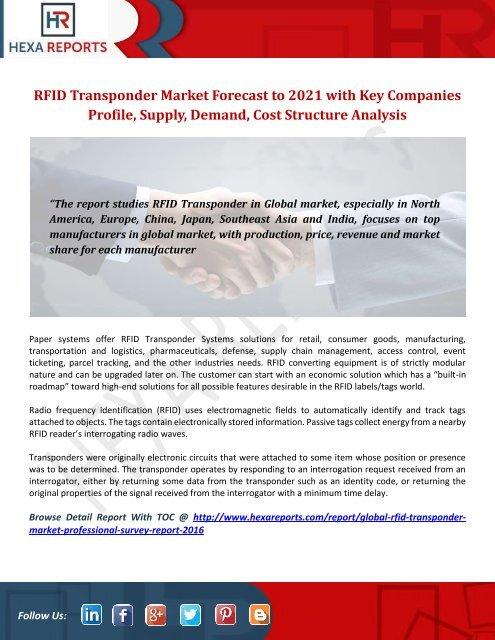 RFID Transponder Market Forecast to 2021 with Key Companies