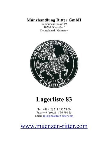 Lagerliste 83 www.muenzen-ritter.com - Münzhandlung Ritter GmbH