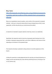 Below are a hypothetical research question, and an outline of the researcher's proposed methods