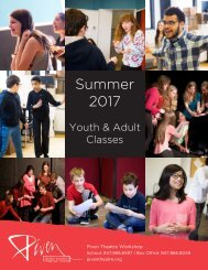 Piven Theatre Workshop Summer 2017 Class Brochure pages