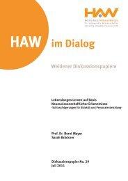 HAW im Dialog Weidener Diskussionspapiere Lebenslanges ...