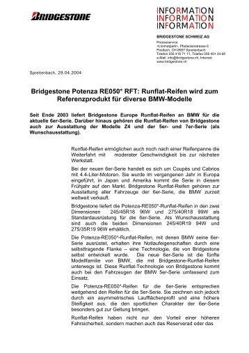 Pressemitteilung: RE050: Runflat-Reifen wird zum Referenzprodukt ...