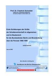 Prof. Dr. Friedrich Schneider - Sozialkasse des Berliner Baugewerbes