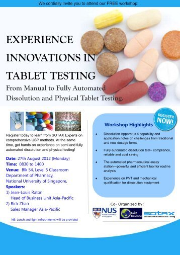 Workshop Highlights EXPERIENCE INNOVATIONS IN TABLET - Sotax