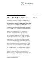 Goldene Flotte fr die . Goldene Palme - Mercedes-Benz Social Publish