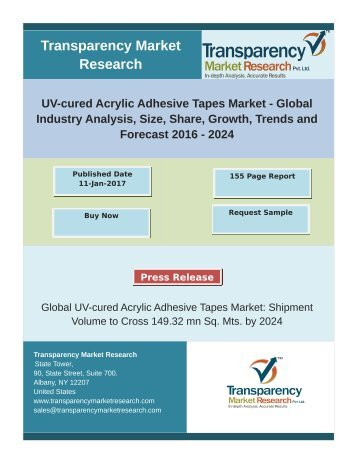 UV-cured Acrylic Adhesive Tapes Market -Global Industry Analysis,Trends and Forecast 2024