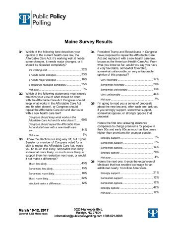 Maine Survey Results