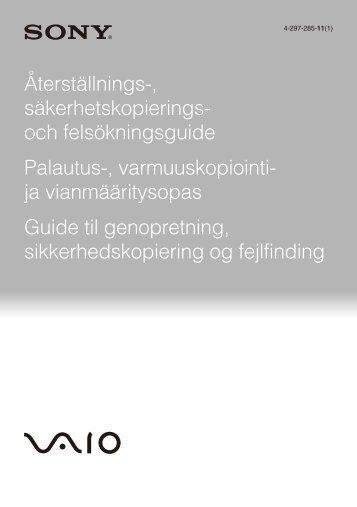 Sony VPCEJ2B1E - VPCEJ2B1E Guide de dépannage Finlandais