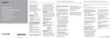 Sony VPCEJ2B1E - VPCEJ2B1E Guide de dépannage Polonais