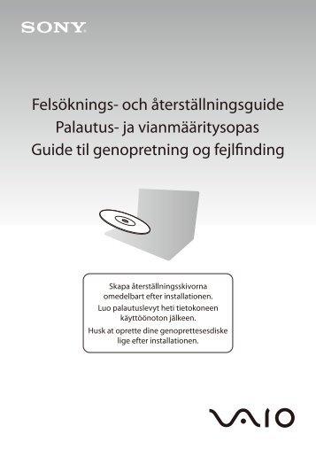 Sony VGN-FW54E - VGN-FW54E Guide de dépannage Suédois