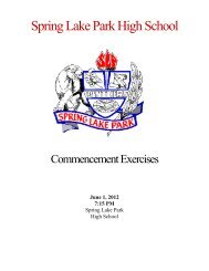Commencement Program and Listing of 2012 - Spring Lake Park ...