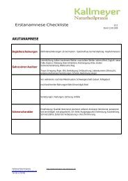 Checkliste Anamnese - Naturheilpraxis Kallmeyer