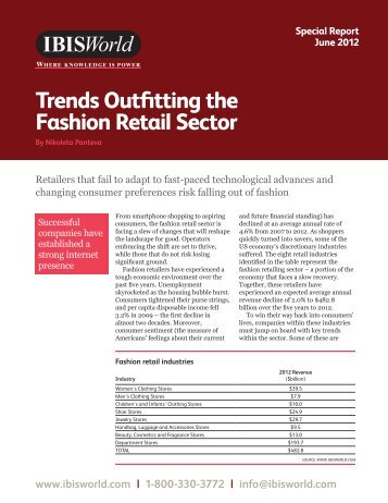 info@ibisworld.com Trends Outfitting the Fashion Retail Sector