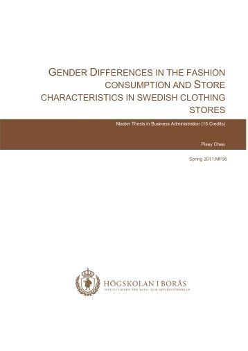 Gender Differences in the Fashion Consumption and Store - BADA