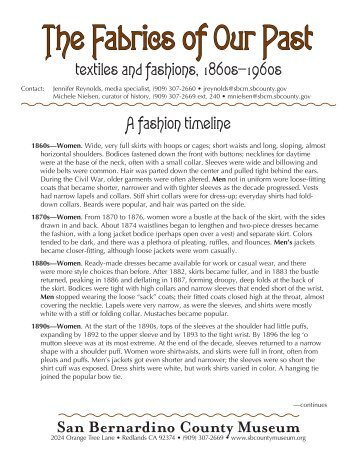 textiles and fashions, 1860s—1960s A fashion timeline