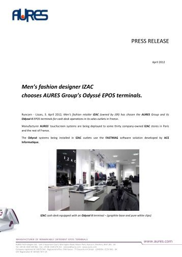 Men's fashion designer IZAC chooses AURES Group's Odyssé