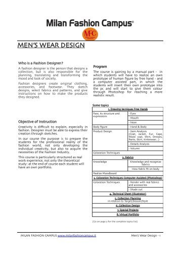 MEN'S WEAR DESIGN - Fashion School