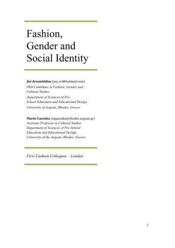 Fashion, Gender and Social Identity - Process Arts