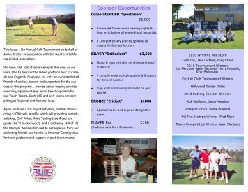 13th Annual Golf Classic Supporting Junior Cricket - Southern ...