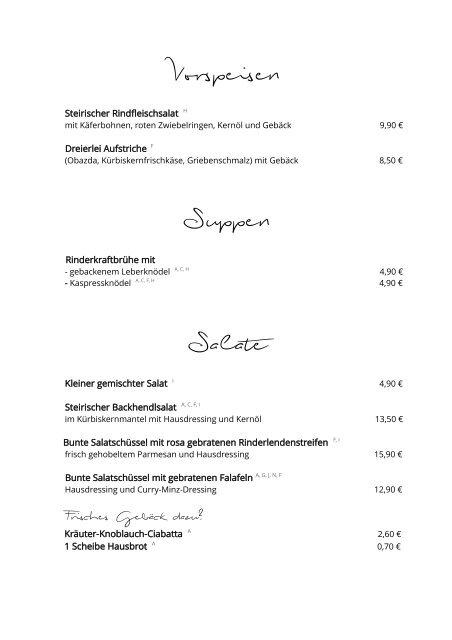 NaderWirt Würding - Speisekarte