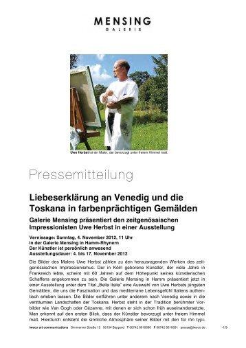 Galerie Mensing Hamm an venedig und die toskana in galerie mensing