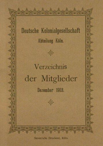 Verzeichnis der Mitglieder Dezember 1903