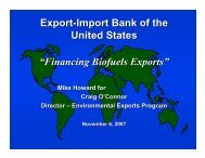 """Export-Import Bank of the United States """"Financing Biofuels Exports"""""""