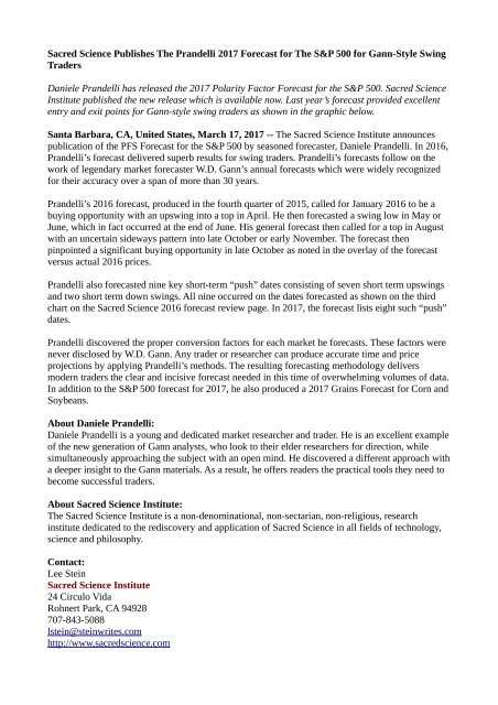 Sacred Science Publishes The Prandelli 2017 Forecast for The