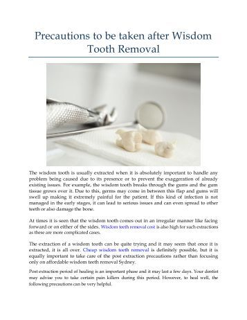 Precautions to be taken after Wisdom Tooth Removal
