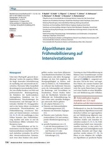 14 Algorithmen zur Frühmobilisierung auf Intensivstationen