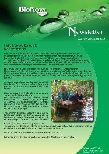 Newsletter August / September 2012 zum Download - BioNova