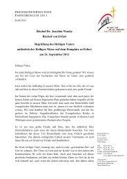 Bischof Dr. Joachim Wanke Bischof von Erfurt ... - zum Papstbesuch