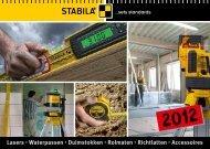 Lasers · Waterpassen · Duimstokken · Rolmaten · Richtlatten - Stabila