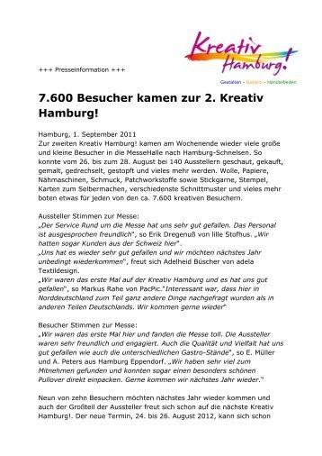 7.600 Besucher kamen zur 2. Kreativ Hamburg!