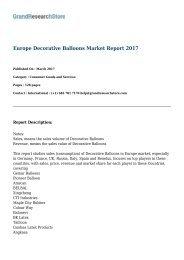 Europe Decorative Balloons Market Report 2017